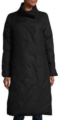 Eileen Fisher Long Stand-Collar Puffer Coat $398 thestylecure.com