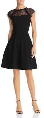 Milly Lace-Inset Knit Dress
