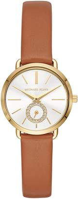 Michael Kors Mini Portia Leather Strap Watch, 28mm