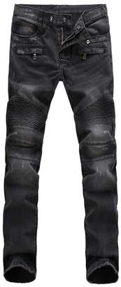 Moto Aiyino Men's Ripped Slim Straight Fit Biker Jeans with Zipper