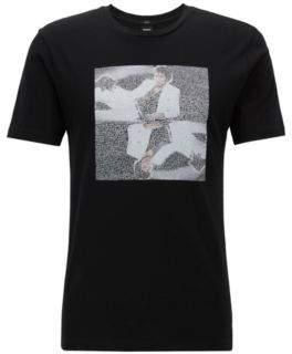 BOSS Hugo Unisex cotton T-shirt Michael Jackson art print S Black
