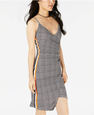Almost Famous Juniors' Menswear Stripe Faux-Wrap Dress