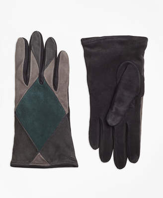 Brooks Brothers Color-Block Suede Gloves