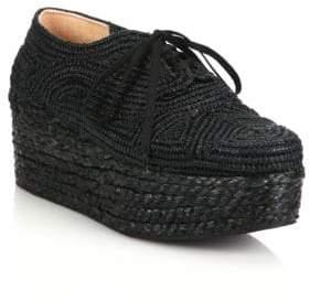 Clergerie Pinto Raffia Espadrille Platform Sneakers