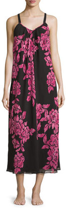Oscar de la Renta Floral-Print Charmeuse Nightgown, Black/Pink $160 thestylecure.com