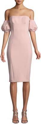 Misha Collection Nala Scuba Dress w/ Puff Sleeves
