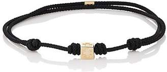 Luis Morais Men's Yellow Gold Bead-On-Cord Bracelet - Black