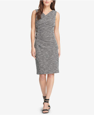 DKNY Textured V-Neck Sheath Dress
