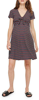 Topshop MATERNITY Tie-Front Striped Skater Dress