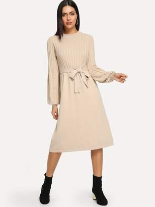 Shein Self Tie Pearl Beaded Sweater Dress