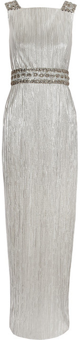 Notte by Marchesa Embellished lamé gown