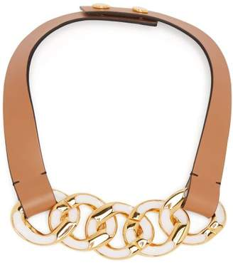 Marni Chain Link Leather Necklace - Womens - Pink