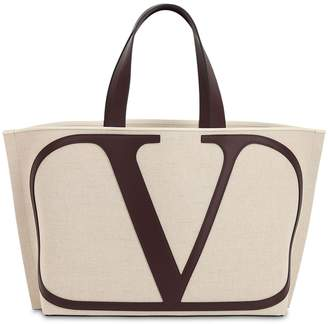 Valentino VLOGO CANVAS TOTE BAG W/LEATHER DETAILS