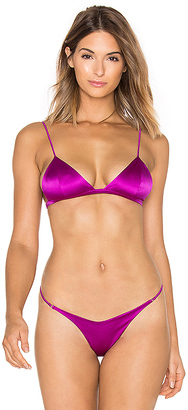 fleur du mal Luxe Silk Triangle Bra in Purple. - size L (also in M)