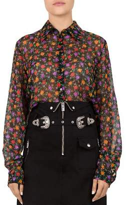 The Kooples Floral Print Cropped Silk Shirt