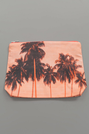 Dezso Palm Tree Zip Pouch Flame
