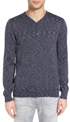 Men's John Varvatos Star Usa Space Dye Henley Sweater $198 thestylecure.com