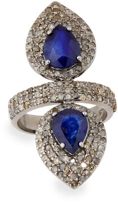 Bavna Silver Double-Pear Ring with Blue Sapphire & Diamonds, Size 7