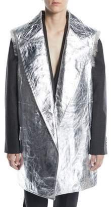 Calvin Klein Oversize Patch-Pocket Vest with Detachable Fur Liner