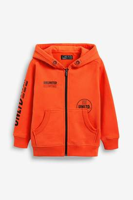 Next Boys Orange Zip Through Heavyweight Hoody (3-16yrs) - Orange