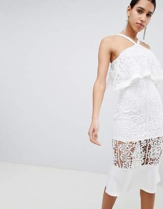 Club L Crochet Peplum Hem Dress