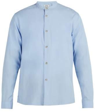Acne Studios Grandad Collar Cotton Shirt - Mens - Blue