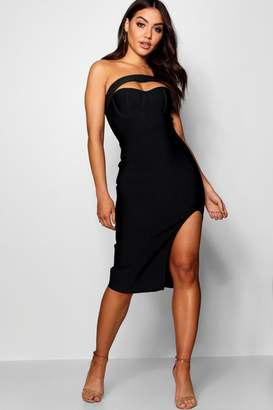 boohoo Boutique Premium Bandage One Shoulder Dress