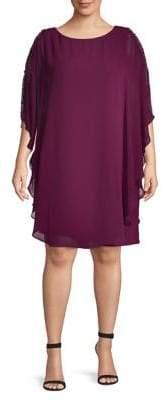 Xscape Evenings Plus Chiffon Overlay Shift Dress