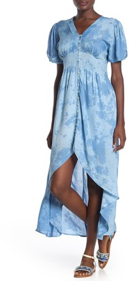 BOHO ME Front Button Tie-Dye Print High/Low Dress