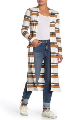 Socialite Striped Ribbed Open Front Cardigan Duster