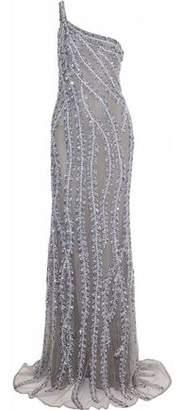 Naeem Khan One-Shoulder Embellished Tulle Gown