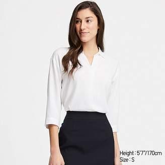 Uniqlo Women's Rayon Skipper Collar 3/4 Sleeve Blouse