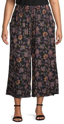 French Laundry Women's Plus Size Printed Wide Leg Crop Pant