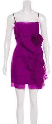 Robert Rodriguez Ruffle-Accented Silk Dress