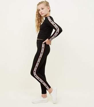 New Look Girls Black Chicago Side Stripe Leggings