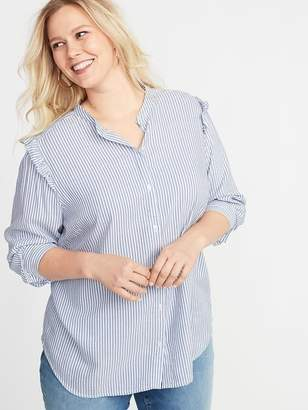 Old Navy Striped Ruffled-Shoulder Twill Plus-Size No-Peek Shirt