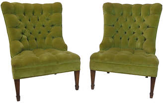 One Kings Lane Vintage Button-Tufted Slipper Chairs - Set of 2