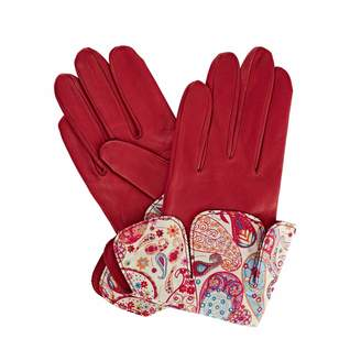 Gizelle Renee - Palesa Fucshia Pink Leather Gloves With Md Liberty Tana Lawn