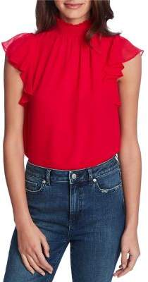 1 STATE 1.STATE Flutter-Sleeve Chiffon Blouse