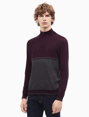 Calvin Klein cotton cashmere colorblock quarter zip sweater