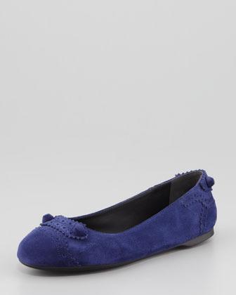 Balenciaga Arena Suede Perforated Ballerina Flat, Dark Blue