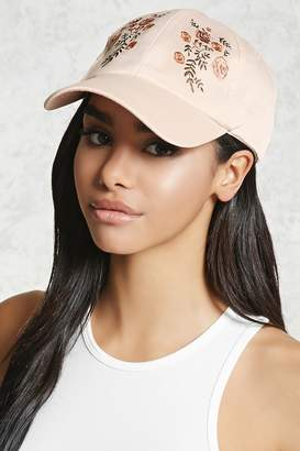 Forever 21 Embroidered Satin Baseball Cap