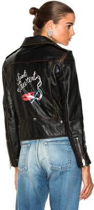 Saint Laurent Smoking Large Lips Motorcycle Jacket