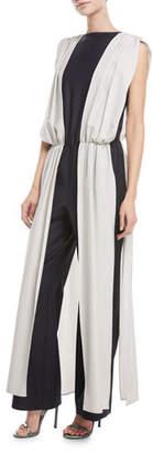 Carolina Ritzler Palace Sleeveless V-Back Stretch-Wool Vest Over Pants Jumpsuit
