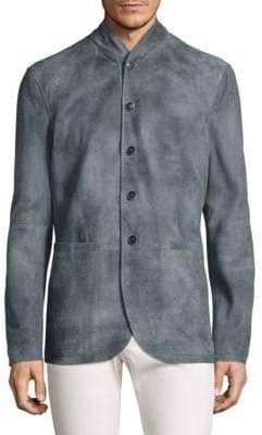 John Varvatos Mock Collar Leather Jacket
