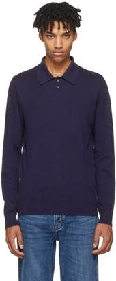A.P.C. Blue Long Sleeve Michael Polo