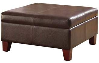 HomePop Luxury Large Faux Leather Storage Ottoman, Multiple Colors