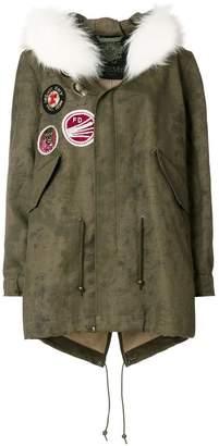 Mr & Mrs Italy fur trimmed patch parka coat