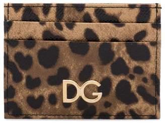 Dolce & Gabbana brown leopard print leather cardholder