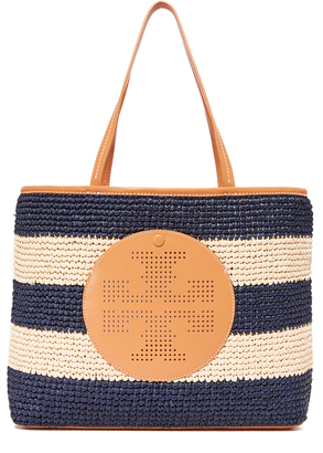 Tory Burch Logo Striped Straw Tote $350 thestylecure.com